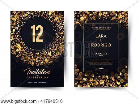 12th Years Birthday Vector Black Paper Luxury Invitation Double Card. Twelve Years Wedding Anniversa