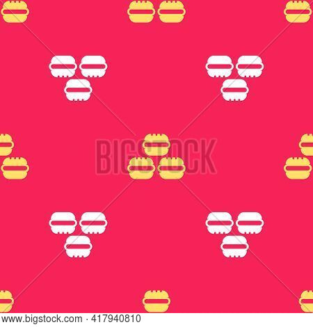Yellow Macaron Cookie Icon Isolated Seamless Pattern On Red Background. Macaroon Sweet Bakery. Vecto