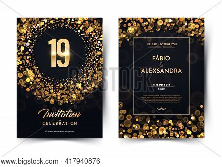 19th Years Birthday Vector Black Paper Luxury Invitation Double Card. Nineteen Years Wedding Anniver