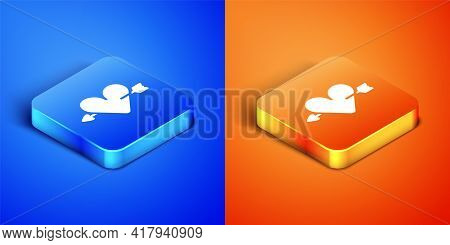 Isometric Amour Symbol With Heart And Arrow Icon Isolated On Blue And Orange Background. Love Sign.