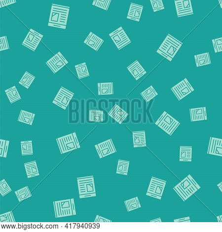 Green Newspaper Advertisement Displaying Obituaries Icon Isolated Seamless Pattern On Green Backgrou
