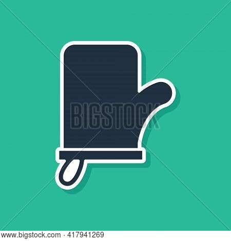 Blue Sauna Mittens Icon Isolated On Green Background. Mitten For Spa. Vector