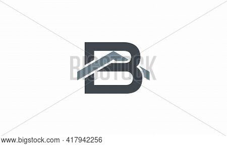 Letter B With Roof Logo Concept Isolated On White Background.