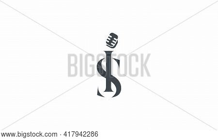 Mic Letter Is Or Si Logo Design Concept. Isolated On White Background.