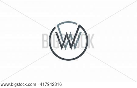 Circle W Or Ww Logo Letter Isolated On White Background.