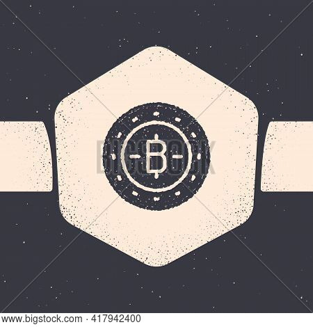 Grunge Cryptocurrency Coin Bitcoin Icon Isolated On Grey Background. Physical Bit Coin. Blockchain B