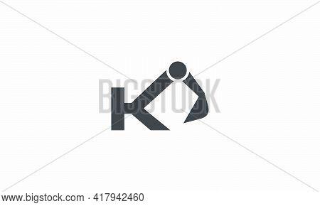 Excavator K Letter Logo Concept Isolated On White Background.