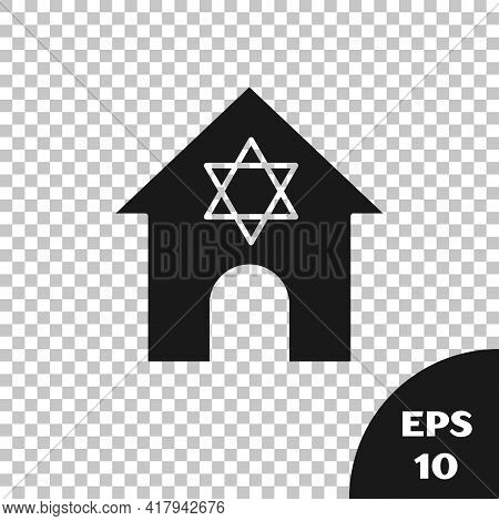 Black Jewish Synagogue Building Or Jewish Temple Icon Isolated On Transparent Background. Hebrew Or