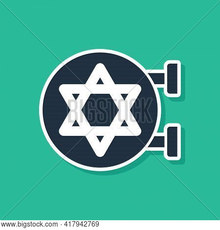 Blue Jewish Synagogue Building Or Jewish Temple Icon Isolated On Green Background. Hebrew Or Judaism