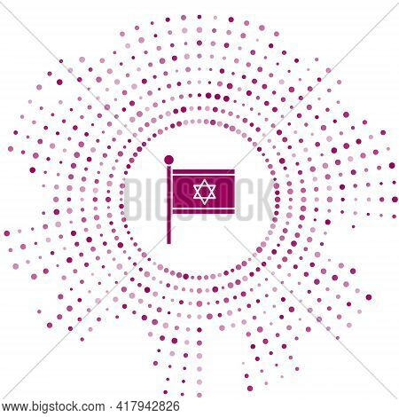 Purple Flag Of Israel Icon Isolated On White Background. National Patriotic Symbol. Abstract Circle