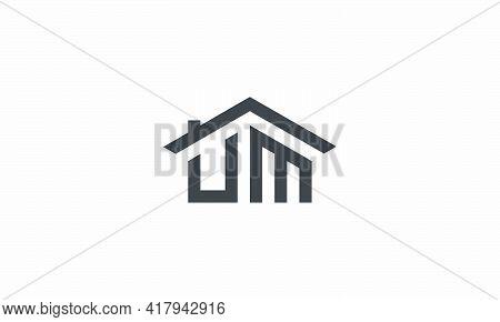 Roof Um Letter Logo Design Vector Illustration.