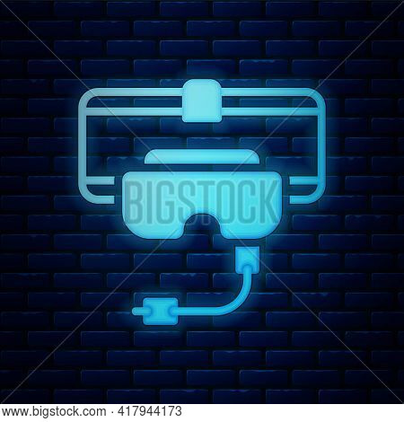 Glowing Neon Virtual Reality Glasses Icon Isolated On Brick Wall Background. Stereoscopic 3d Vr Mask