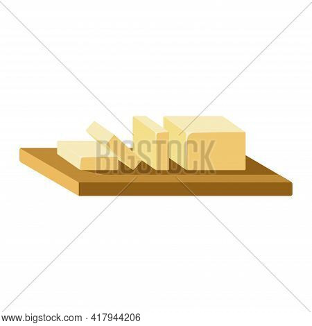 Block Of Butter Sliced On Wooden Cutting Board Isolated Icon On White Background. Sliced Yellow Butt