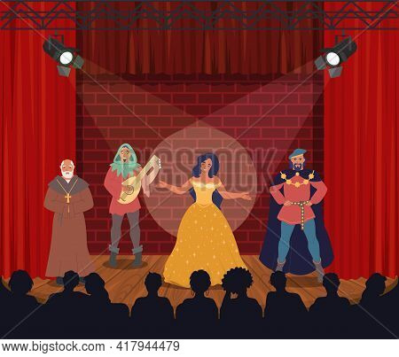 Theatrical Performance. Actors Performing On Stage, Vector Illustration. Comedy, Drama. Entertainmen