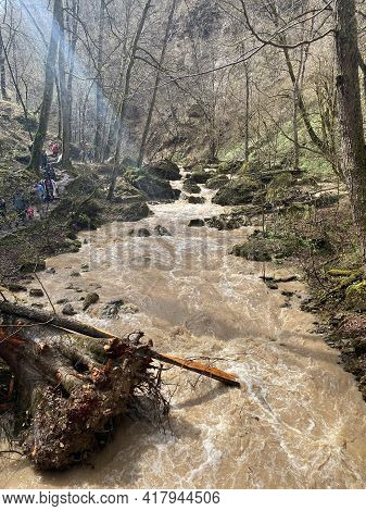 Guamka, Russia April 17, 2021: Beautiful Landscape Of Mountain River In Amazing And Mysterious Natur