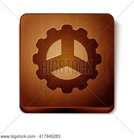 Brown Bicycle Sprocket Crank Icon Isolated On White Background. Wooden Square Button. Vector
