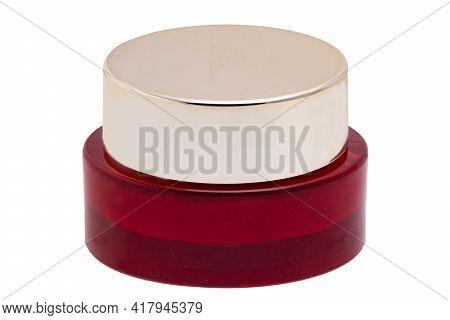 Closeup Of An Cosmetic Jar Of Rose Concealer Cream, Makeup Foundation, Moisturising Cream For The Fa
