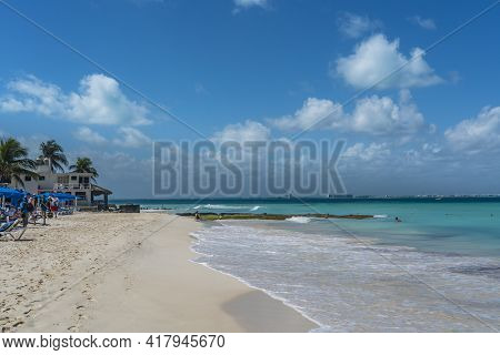 Isla Mujeres, Mexico - March 12. 2021: Playa Norte - North Beach With Crystal Clear Turquoise Water,