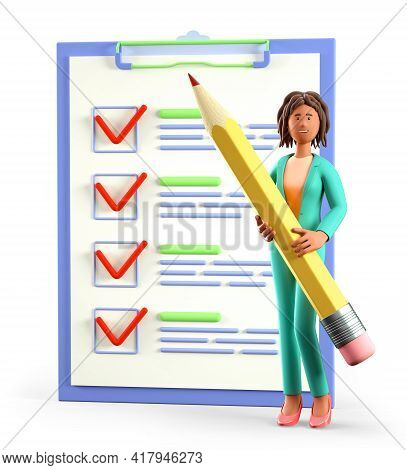 3d Illustration Of African American Woman Holding A Huge Pencil Nearby A Giant Marked Checklist On A