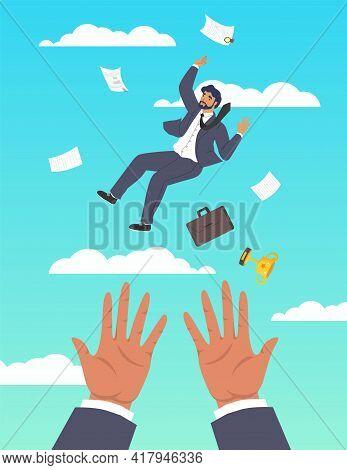 Hands Saving Falling Businessman, Flat Vector Illustration. Business Support, Assistance, Financial