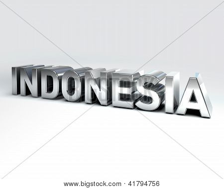 3D Country Text Of Indonesia