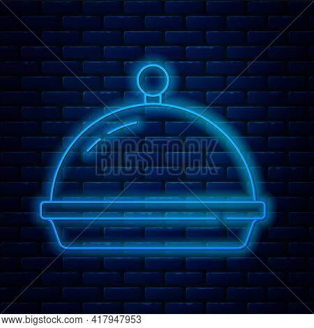 Glowing Neon Line Covered With A Tray Of Food Icon Isolated On Brick Wall Background. Tray And Lid.