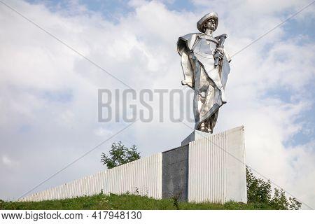 Terchova, Slovakia - July 5, 2017: The Metal Statue Of Juraj Janosik On A Top Of A Hill In Terchova,