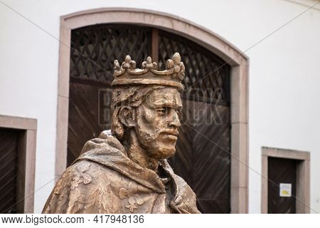 Kremnica, Slovakia - July 3, 2020: The Statue Of Hungariang King Karol Robert From Anjou In The Cent