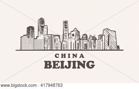 Beijing Cityscape Sketch Hand Drawn , China Vector