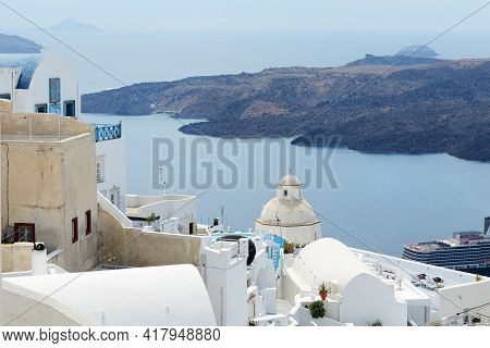 The View On Aegean Sea And Santorini Buildings, Santorini Island, Greece