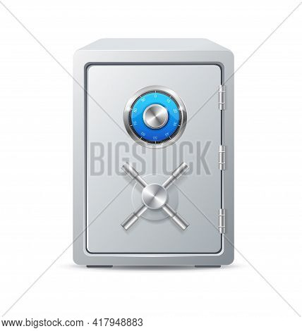 Realistic Detailed 3d Security Metal Safe With Handle Wheel. Vector