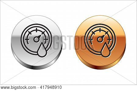 Black Line Sauna Thermometer Icon Isolated On White Background. Sauna And Bath Equipment. Silver-gol