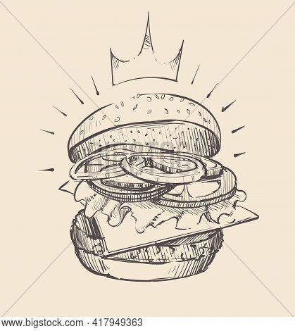 Big Juicy Open Burger Sketch Vector Illustration Art