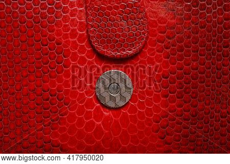 One Round Metal Gray Rivet On Red Leather Wallet With Harness