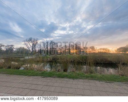 Sunrise On Radunia River In Pruszcz Gdanski, Poland.