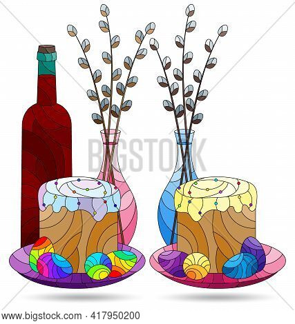 Set Of Illustrations In The Style Of Stained Glass With Easter Still Lifes Isolated On A White Backg