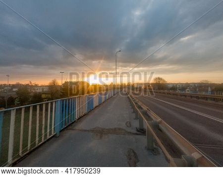View Of Pruszcz Gdanski From The Viaduct At Sunrise.