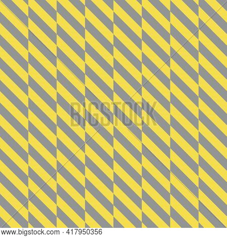 Seamless Gray And Yellow Diagonal Pattern, Vector Illustration. Geometric Pattern With Illuminating