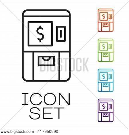 Black Line Atm - Automated Teller Machine And Money Icon Isolated On White Background. Set Icons Col