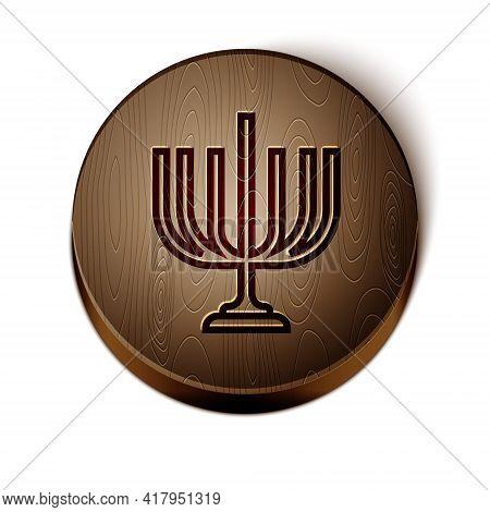 Brown Line Hanukkah Menorah Icon Isolated On White Background. Hanukkah Traditional Symbol. Holiday