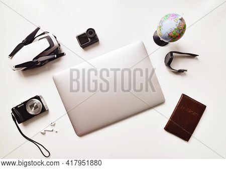 Flat Lay Holiday Lightweight Gadget Travel Set Up Isolated On White Table Background: Compact Camera