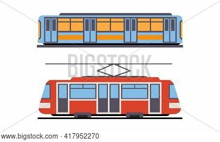 Tram Or Streetcar And Train As Rail Vehicle Running On Tramway Track Along Urban Streets Vector Set