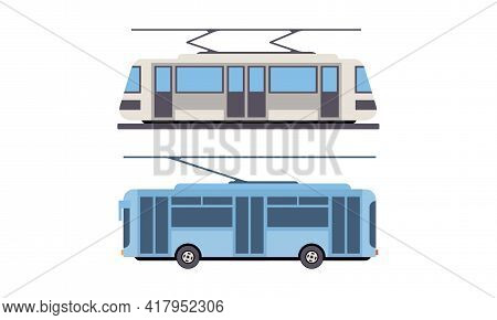 Tram Or Streetcar And Trolleybus As Rail Vehicle Running On Tramway Track Along Urban Streets Vector