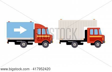 Truck Or Lorry As Motor Vehicle And Urban Transport For Transporting Cargo Vector Set