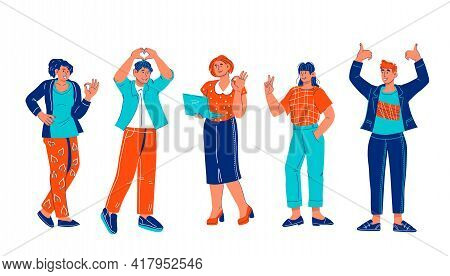 Happy Smiling Business People Standing In Row And Showing Ok And Other Approval Signs, Cartoon Vecto