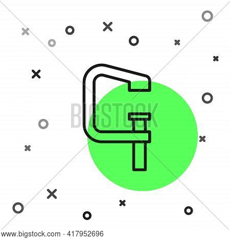Black Line Clamp And Screw Tool Icon Isolated On White Background. Locksmith Tool. Vector