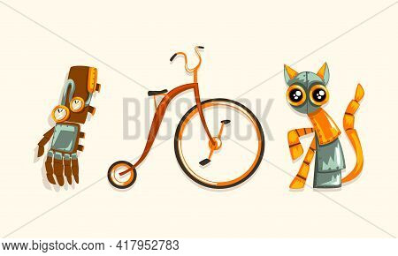 Steampunk Fictional Objects And Mechanism With Cat Robot And Mechanical Hand Vector Set