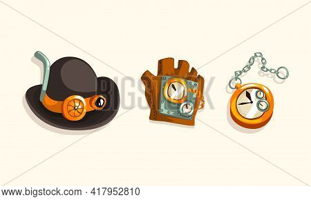 Steampunk Fictional Objects And Mechanism With Hat And Mechanical Glove Vector Set