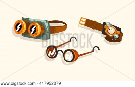 Steampunk Fictional Objects And Mechanism With Mechanical Goggles And Watch Vector Set