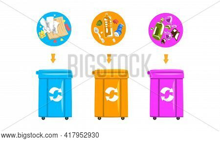 Waste Sorting And Litter Recycling With Dustbin With Different Trash Vector Set